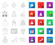 Contour de ?pouser et d'attributs, ic?nes plates dans la collection d'ensemble pour la conception Web d'actions de symbole de vec illustration stock