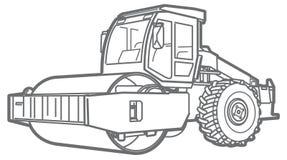 Contour de rouleau de route Machine à paver d'Asphal illustration de vecteur