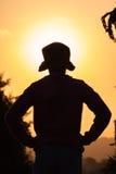Contour de silhouette de chapeau de fille Photo libre de droits