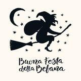 Contour de sorcière, citation d'épiphanie en italien illustration libre de droits