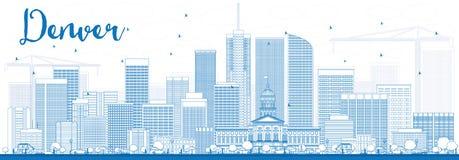 Contour Denver Skyline avec les bâtiments bleus illustration libre de droits