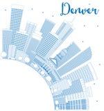 Contour Denver Skyline avec les bâtiments et l'espace bleus de copie illustration stock