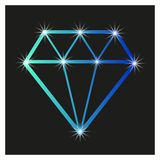 Contour diamond on a black background, with. Gloss design in the advertising industry vector illustration