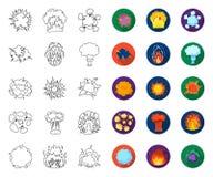 Contour différent d'explosions, icônes plates dans la collection réglée pour la conception Web d'actions de symbole de vecteur d' illustration stock