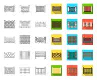 Contour différent de barrière, icônes plates dans la collection réglée pour la conception Illustration de cl?ture d?corative de W illustration stock