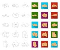 Contour différent de boîtes, icônes plates dans la collection réglée pour la conception Illustration de Web d'actions de symbole  illustration libre de droits