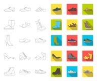 Contour différent de chaussures, icônes plates dans la collection réglée pour la conception Le ` s d'hommes et le ` s de femmes c illustration libre de droits