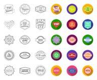Contour différent de label, icônes plates dans la collection réglée pour la conception L'index et la marque dirigent l'illustrati illustration libre de droits