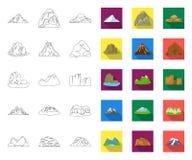 Contour différent de montagnes, icônes plates dans la collection réglée pour la conception Montagnes et Web d'actions de symbole  illustration de vecteur