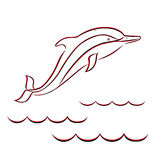 Contour of a dolphin in red and black colors Royalty Free Stock Images