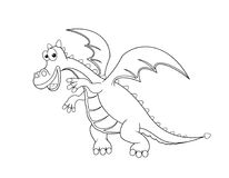 Contour of the Dragon. Dragon outline in black on a white background royalty free illustration