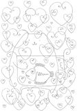Fish, cat, love. A contour drawing depicting a cat that holds an aquarium with fish, and around them there are a lot of hearts, meaning love between a fish and a Royalty Free Stock Images