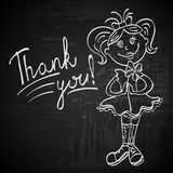 Contour drawing girl with flower says thank you Stock Image