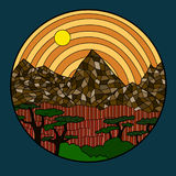 Contour drawing mountain landscape African savanna and trees.  vector illustration