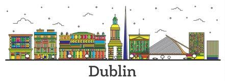 Contour Dublin Ireland City Skyline avec l'isolat de bâtiments de couleur illustration stock