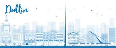 Contour Dublin Skyline avec les bâtiments bleus, Irlande Images libres de droits