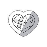 contour earth planet heart with band aid icon Royalty Free Stock Photos