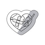 Contour earth planet heart with stethoscope and band aid icon Stock Photo
