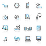 Contour electronics web icons Royalty Free Stock Photo