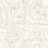 Contour elevation topographic seamless vector map Stock Images