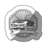 contour emblem with hamburger, soda and fries french and ribbon Stock Photography