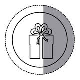 Contour emblem sticker box with bow ribbon icon Royalty Free Stock Photo