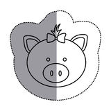 contour face pig ribbon bow head icon Stock Image
