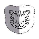 Contour face tiger icon Royalty Free Stock Photo