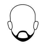 Contour faceless front view bald man with beard Stock Photo