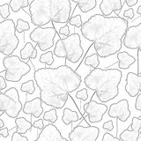 Contour falling leaves on a white background, seamless pattern Stock Image