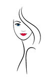 Contour female face for spa and beauty salon decoration Stock Photo
