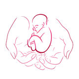 Contour of female hands with a baby Stock Images