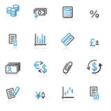 Contour finance web icons. Vector web icons, blue and gray contour series Royalty Free Stock Photography