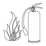 Contour fire flame and extinguisher icon Stock Photo
