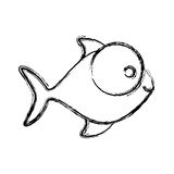 Contour fish with big eyes icon. Illustration design Royalty Free Stock Photo