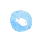 Contour of the fish on a blue spot.vector illustration with decorative exotic fish, painted in watercolor. Contour of the fish on a blue spot Royalty Free Stock Images