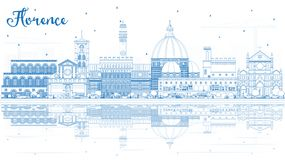 Contour Florence Italy City Skyline avec les bâtiments bleus et le Refl illustration de vecteur
