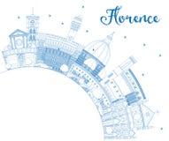 Contour Florence Italy City Skyline avec les bâtiments et la copie bleus illustration libre de droits