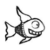 Contour fun fish carucature icon. Illustration design Stock Photos