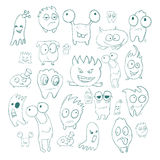 Contour funny monsters for Halloween holiday or  your design. It can be used  childrens books with fairy tales. Vector Royalty Free Stock Image
