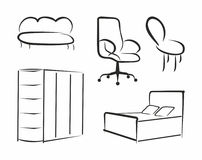 Contour furniture. Vector simple a contour furniture Royalty Free Stock Photography