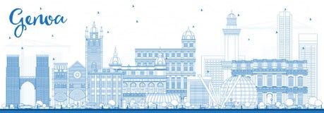 Contour Genoa Italy City Skyline avec les bâtiments bleus illustration de vecteur