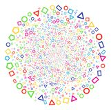 Contour Geometric Shapes Burst Cluster. Psychedelic Contour Geometric Shapes carnival sphere. Vector spheric cluster explosion created by random contour Stock Images