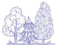 Contour gestileerde bomen Stock Afbeelding