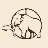 Contour gigantesque, dessin de main de découpe, croquis, sur un fond beige Illustration de vecteur Photos libres de droits