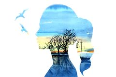 The contour of the girl with the background of the lake and the sky and gulls. Background blue and turquoise royalty free stock image