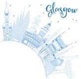 Contour Glasgow Scotland City Skyline avec les bâtiments bleus et la Co illustration stock