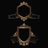 Contour gold emblems Stock Images