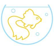 Contour gold fish. Illustration of the cartoon contour gold fish in aquarium Royalty Free Stock Photography