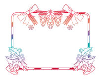 Contour gradient frame with holly berry and Christmas bells. Cop Royalty Free Stock Image